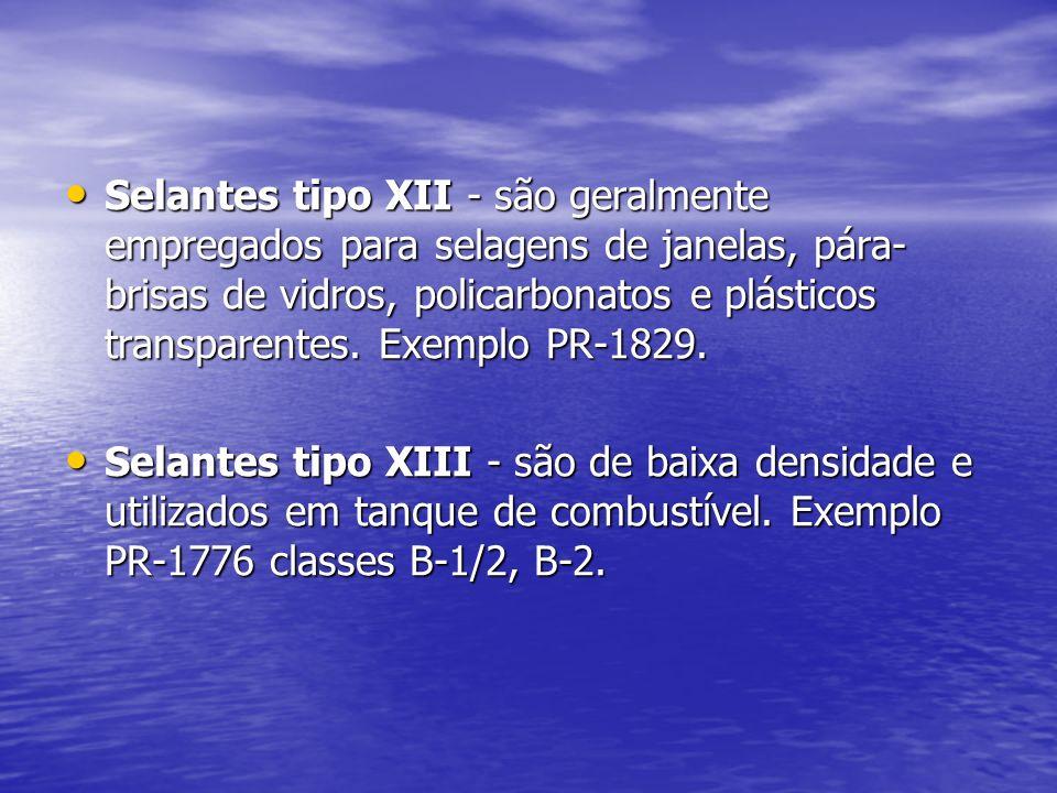 Selantes tipo XII - são geralmente empregados para selagens de janelas, pára- brisas de vidros, policarbonatos e plásticos transparentes. Exemplo PR-1