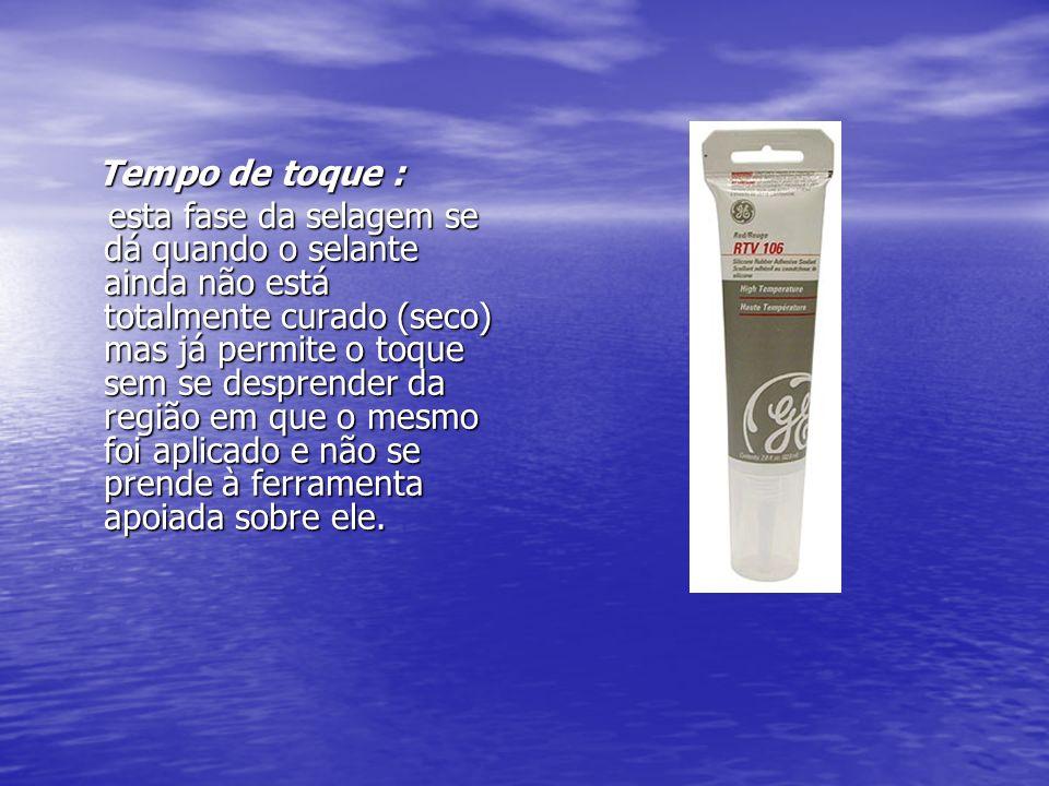 Cura total : Cura total : fase em que o tempo de secagem citado pelo fabricante do selante se esgota e a selagem está firme e totalmente aderida à região ou componente selado.