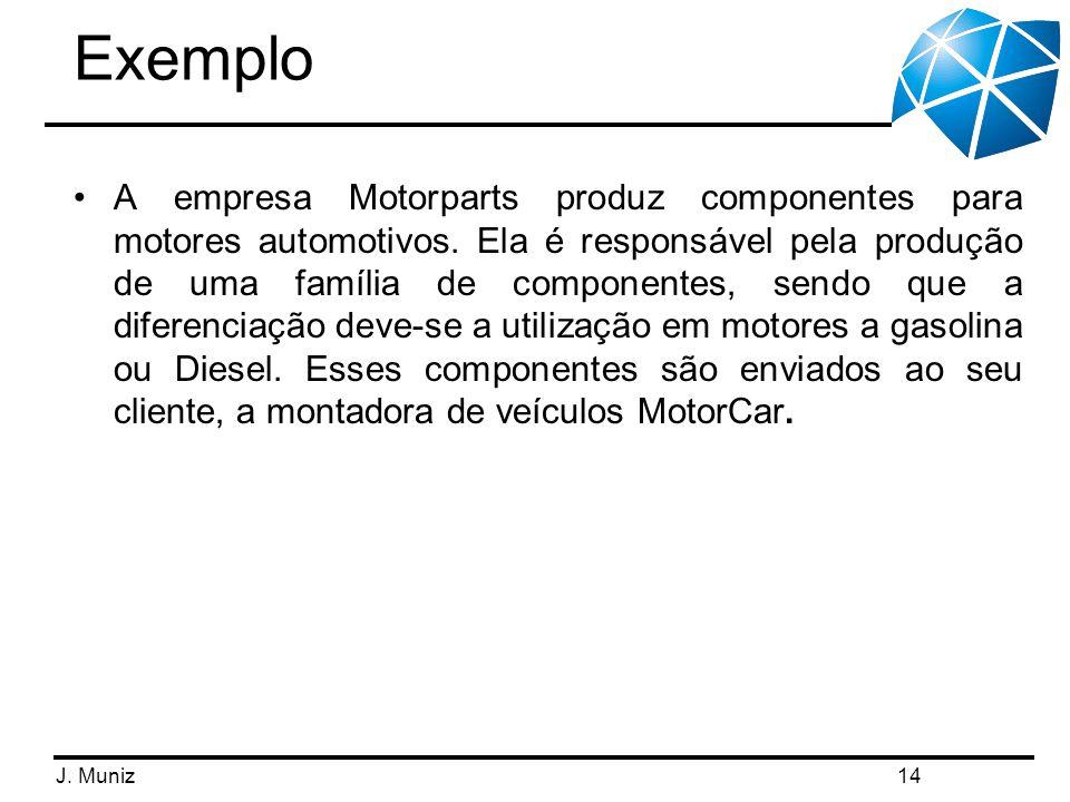 J. Muniz Exemplo A empresa Motorparts produz componentes para motores automotivos. Ela é responsável pela produção de uma família de componentes, send
