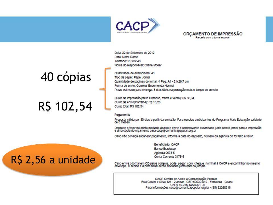 40 cópias R$ 102,54 R$ 2,56 a unidade