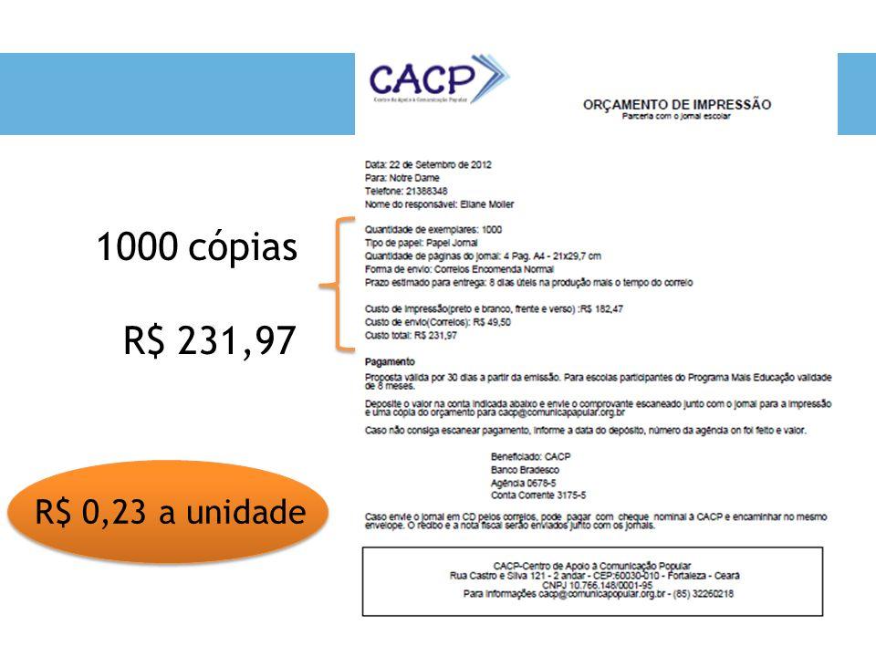 1000 cópias R$ 231,97 R$ 0,23 a unidade