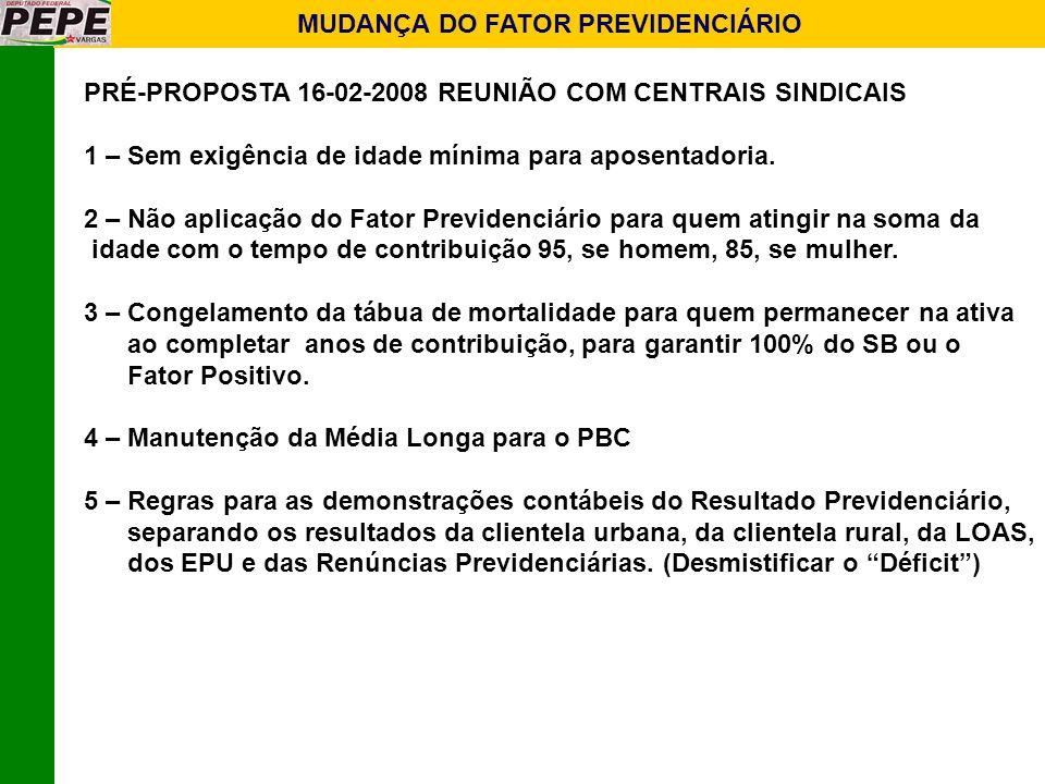 PRÉ-PROPOSTA 16-02-2008 REUNIÃO COM CENTRAIS SINDICAIS 1 – Sem exigência de idade mínima para aposentadoria. 2 – Não aplicação do Fator Previdenciário