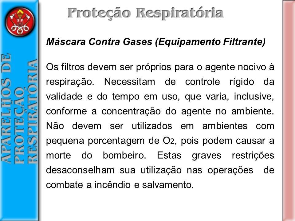 Máscara Contra Gases (Equipamento Filtrante) Os filtros devem ser próprios para o agente nocivo à respiração.
