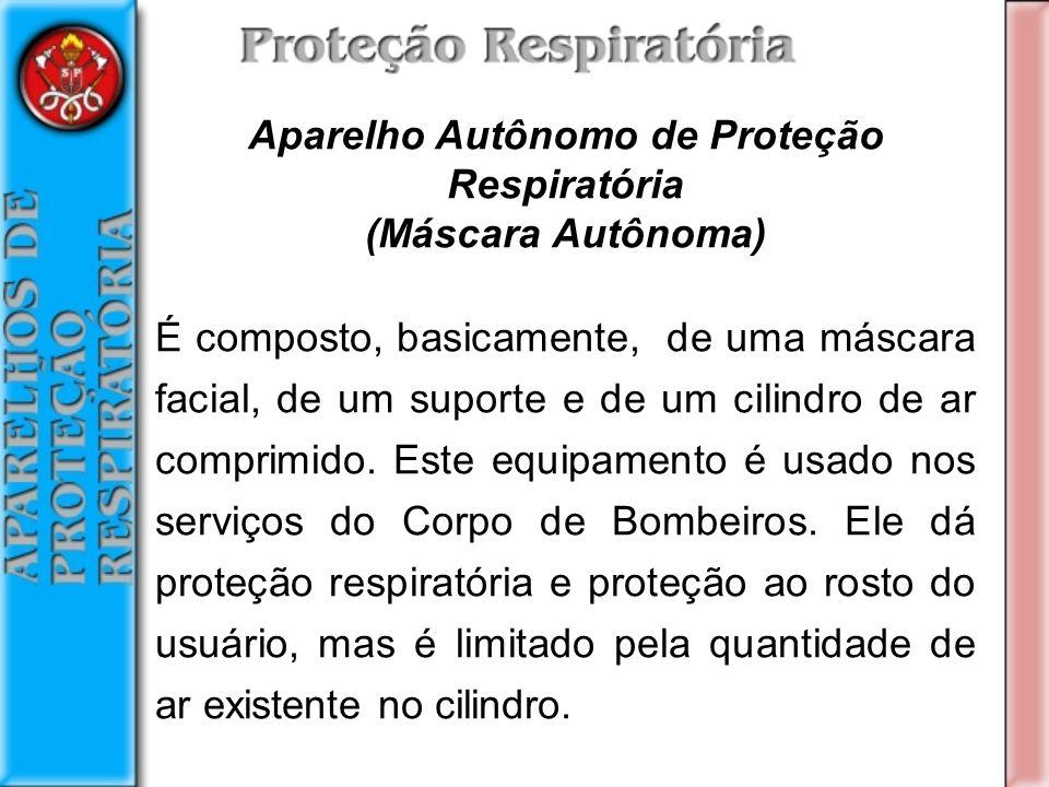 Aparelho Autônomo de Proteção Respiratória (Máscara Autônoma) É composto, basicamente, de uma máscara facial, de um suporte e de um cilindro de ar comprimido.