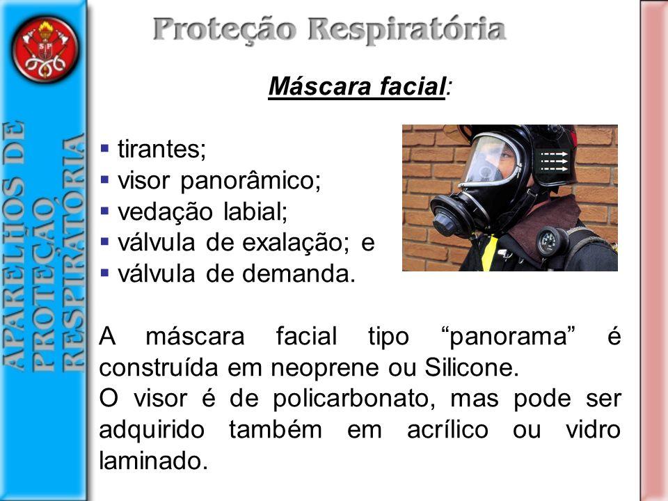 Máscara facial: tirantes; visor panorâmico; vedação labial; válvula de exalação; e válvula de demanda.