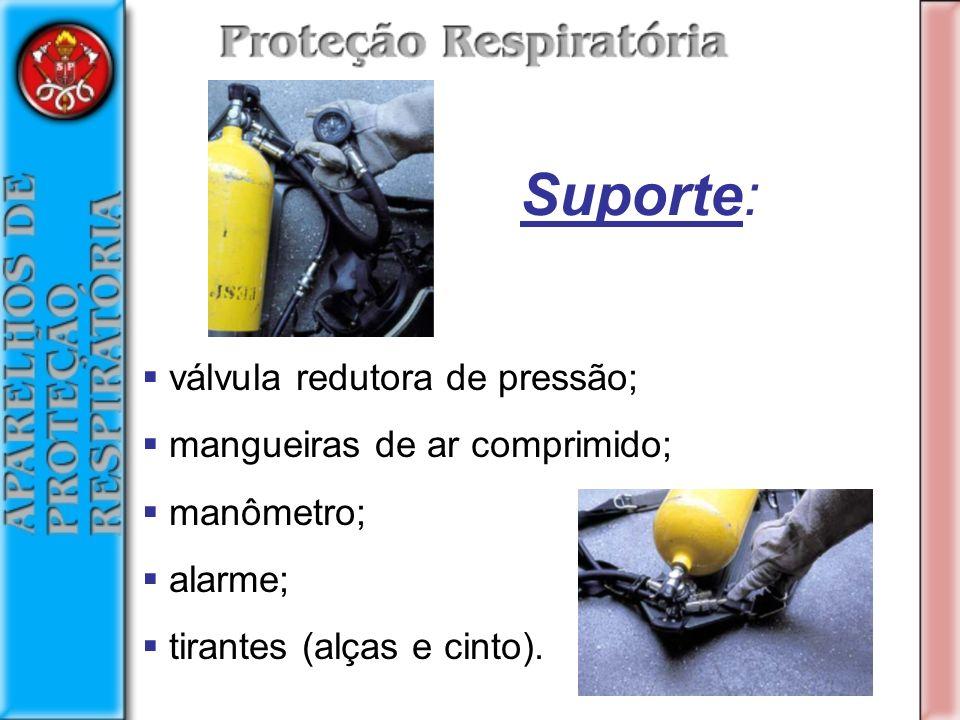 válvula redutora de pressão; mangueiras de ar comprimido; manômetro; alarme; tirantes (alças e cinto).