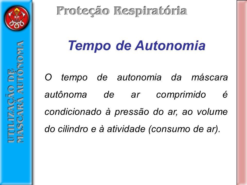 Tempo de Autonomia O tempo de autonomia da máscara autônoma de ar comprimido é condicionado à pressão do ar, ao volume do cilindro e à atividade (consumo de ar).