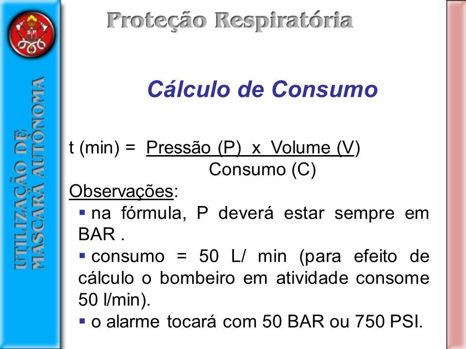 t (min) = Pressão (P) x Volume (V) Consumo (C) Observações: na fórmula, P deverá estar sempre em BAR.