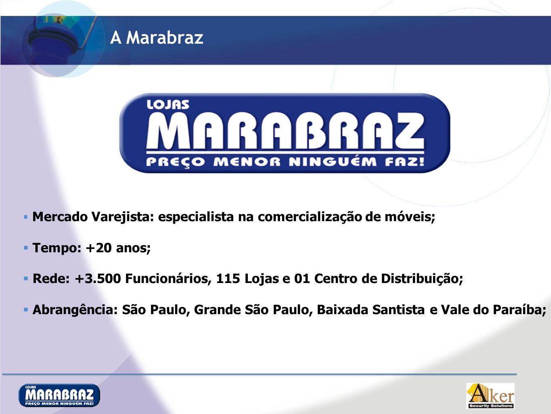 A Marabraz Mercado Varejista: especialista na comercialização de móveis; Tempo: +20 anos; Rede: +3.500 Funcionários, 115 Lojas e 01 Centro de Distribu