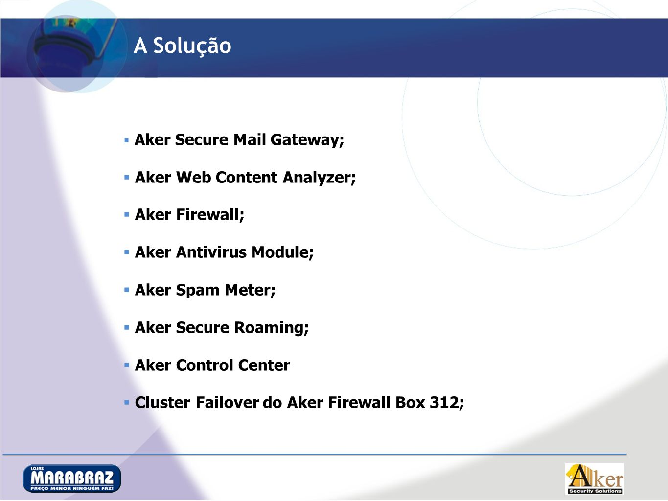 A Solução Aker Secure Mail Gateway; Aker Web Content Analyzer; Aker Firewall; Aker Antivirus Module; Aker Spam Meter; Aker Secure Roaming; Aker Control Center Cluster Failover do Aker Firewall Box 312;