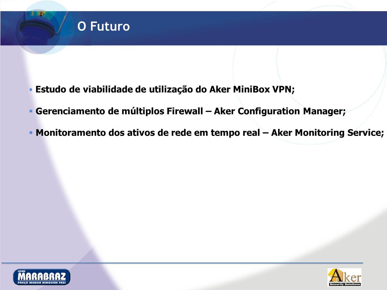 O Futuro Estudo de viabilidade de utilização do Aker MiniBox VPN; Gerenciamento de múltiplos Firewall – Aker Configuration Manager; Monitoramento dos