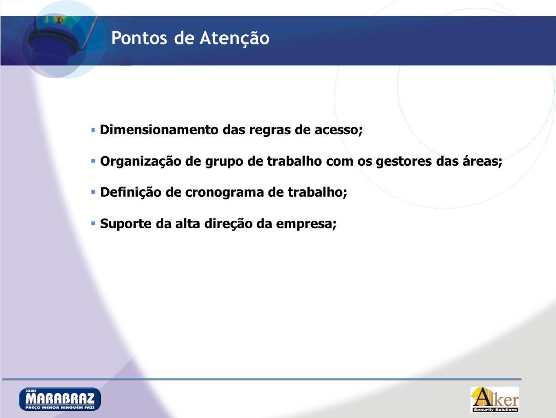 Pontos de Atenção Dimensionamento das regras de acesso; Organização de grupo de trabalho com os gestores das áreas; Definição de cronograma de trabalh