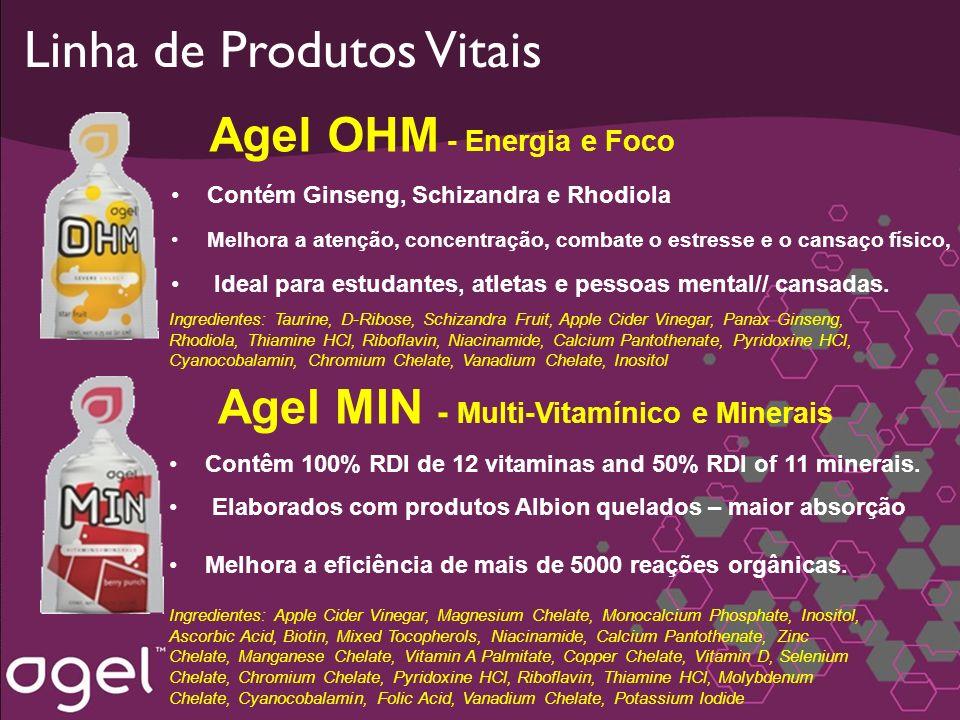 Linha de Produtos Vitais Agel OHM - Energia e Foco Contém Ginseng, Schizandra e Rhodiola Melhora a atenção, concentração, combate o estresse e o cansa