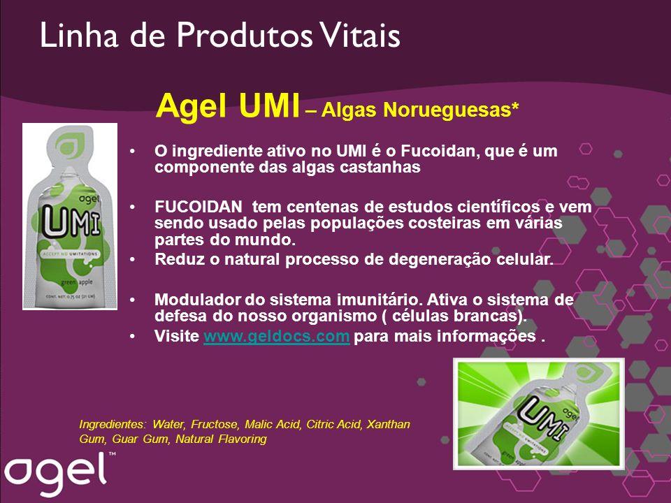 Linha de Produtos Vitais Agel UMI – Algas Norueguesas* O ingrediente ativo no UMI é o Fucoidan, que é um componente das algas castanhas FUCOIDAN tem c