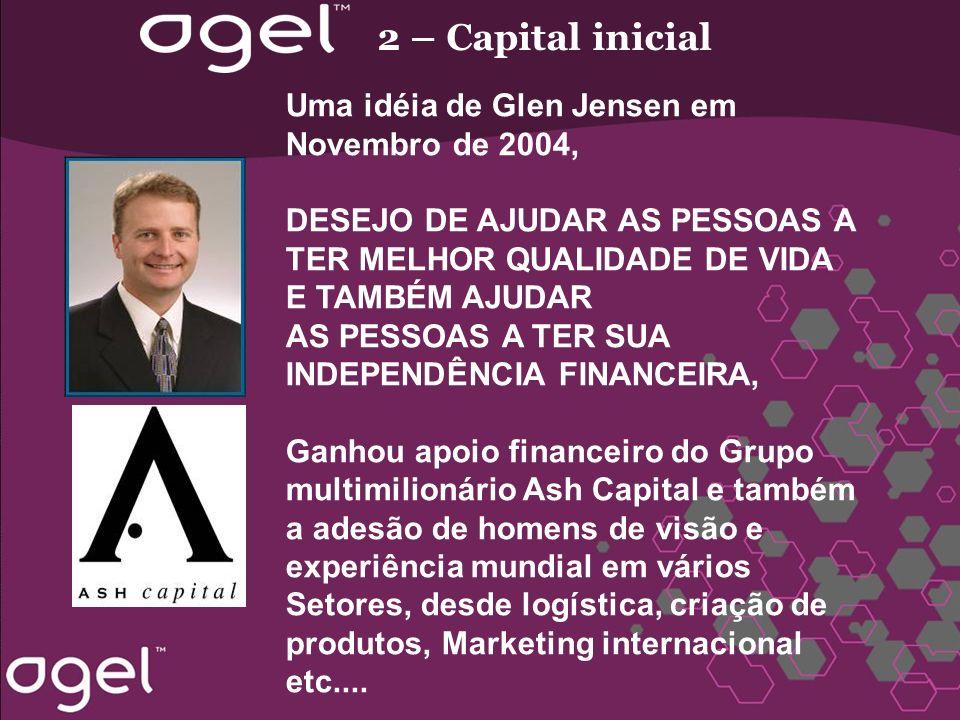 2 – Capital inicial Uma idéia de Glen Jensen em Novembro de 2004, DESEJO DE AJUDAR AS PESSOAS A TER MELHOR QUALIDADE DE VIDA E TAMBÉM AJUDAR AS PESSOA