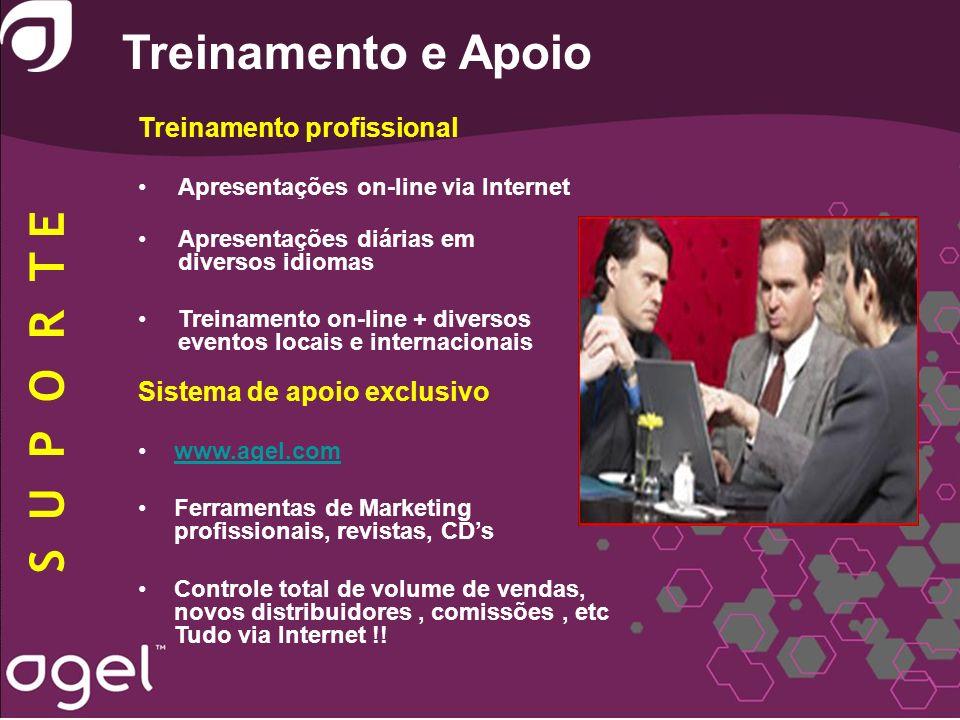 Treinamento e Apoio Treinamento profissional Apresentações on-line via Internet Apresentações diárias em diversos idiomas Treinamento on-line + divers
