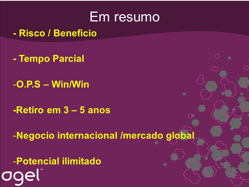 Em resumo - Risco / Beneficio - Tempo Parcial -O.P.S – Win/Win -Retiro em 3 – 5 anos -Negocio internacional /mercado global -Potencial ilimitado