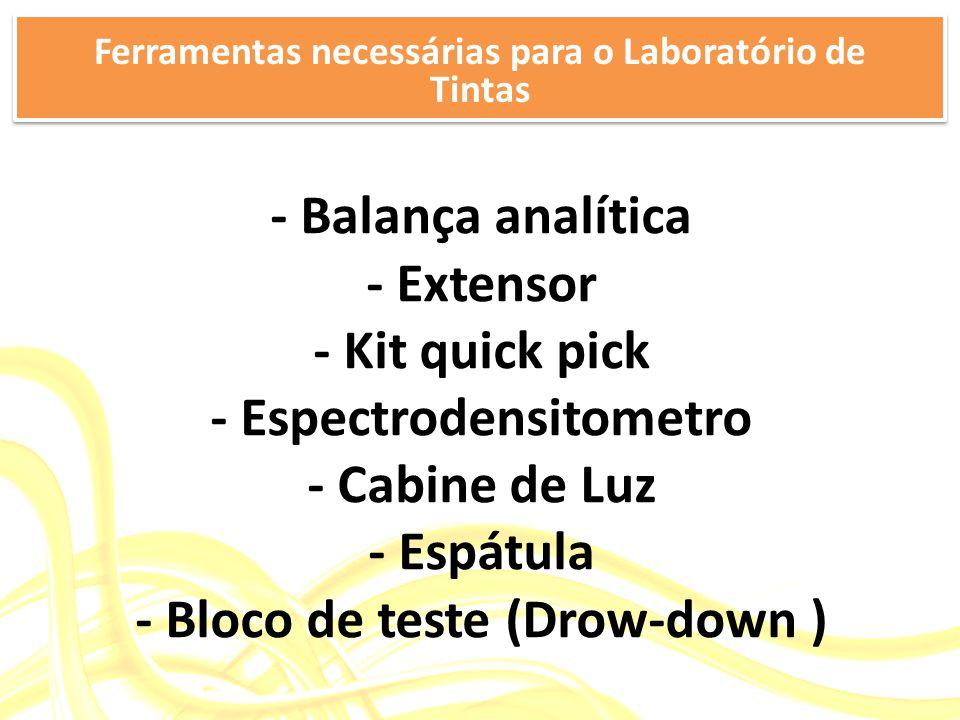 - Balança analítica - Extensor - Kit quick pick - Espectrodensitometro - Cabine de Luz - Espátula - Bloco de teste (Drow-down ) Ferramentas necessárias para o Laboratório de Tintas