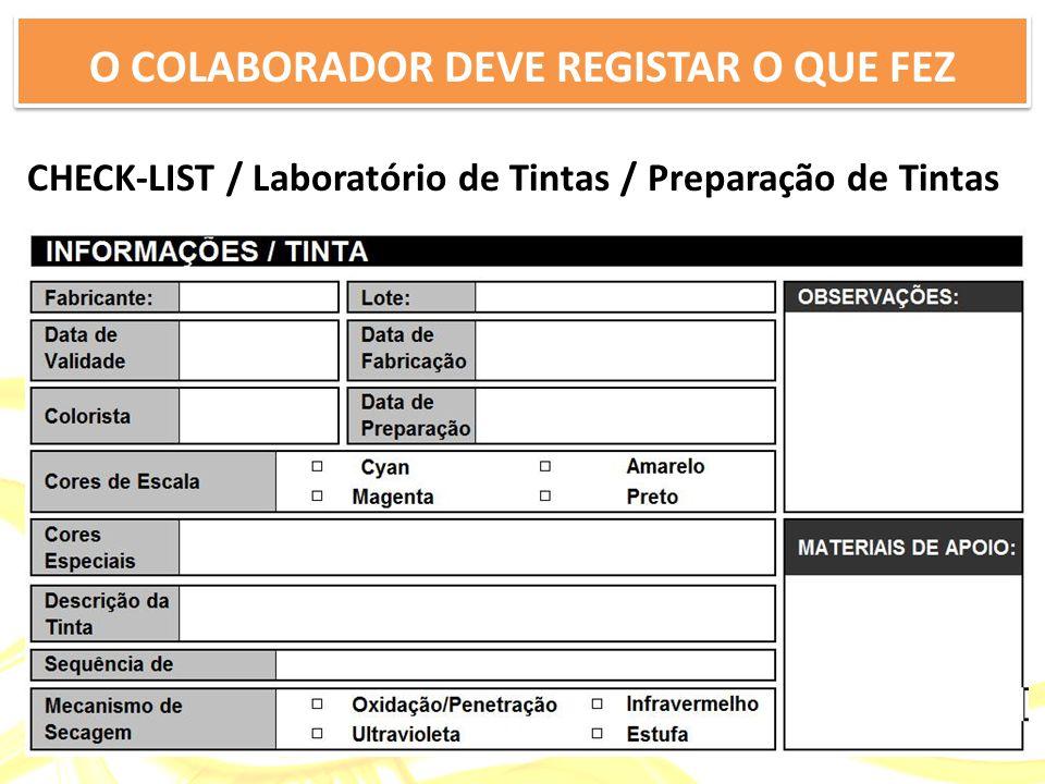 CHECK-LIST / Laboratório de Tintas / Preparação de Tintas O COLABORADOR DEVE REGISTAR O QUE FEZ