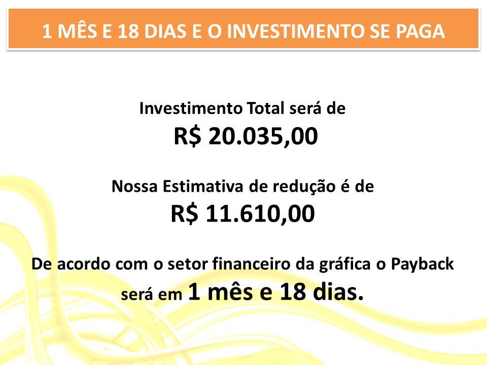 Investimento Total será de R$ 20.035,00 Nossa Estimativa de redução é de R$ 11.610,00 De acordo com o setor financeiro da gráfica o Payback será em 1 mês e 18 dias.