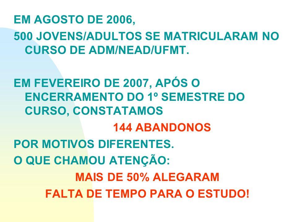 EM AGOSTO DE 2006, 500 JOVENS/ADULTOS SE MATRICULARAM NO CURSO DE ADM/NEAD/UFMT. EM FEVEREIRO DE 2007, APÓS O ENCERRAMENTO DO 1º SEMESTRE DO CURSO, CO