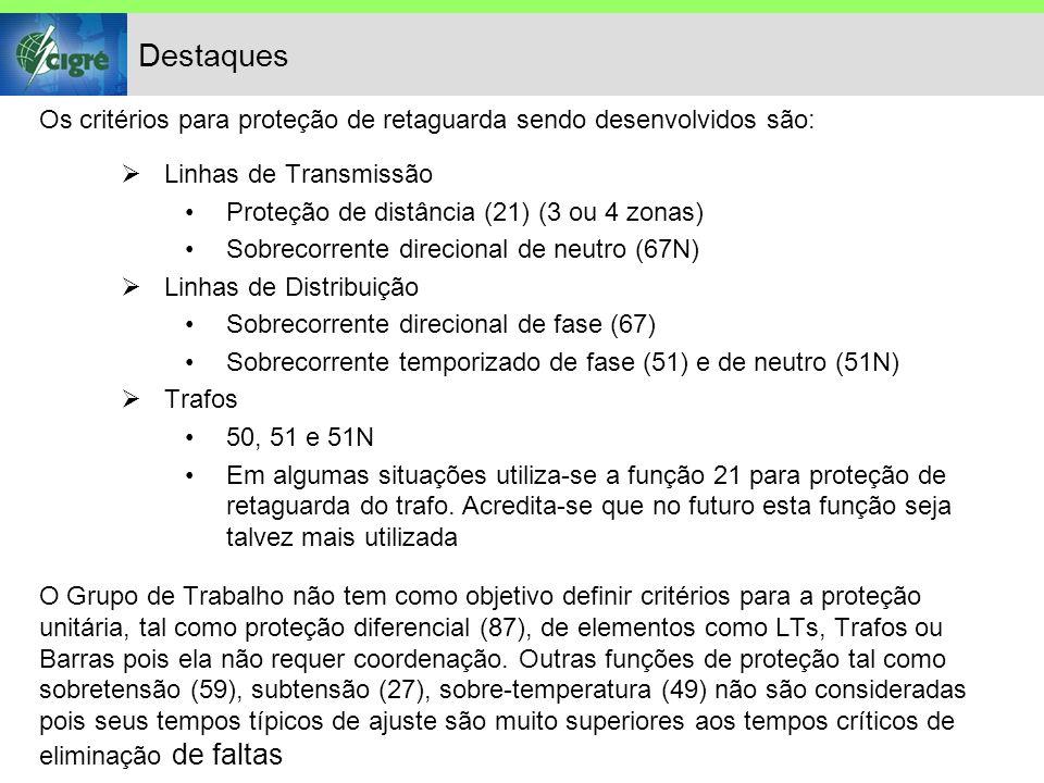Destaques Os critérios para proteção de retaguarda sendo desenvolvidos são: Linhas de Transmissão Proteção de distância (21) (3 ou 4 zonas) Sobrecorrente direcional de neutro (67N) Linhas de Distribuição Sobrecorrente direcional de fase (67) Sobrecorrente temporizado de fase (51) e de neutro (51N) Trafos 50, 51 e 51N Em algumas situações utiliza-se a função 21 para proteção de retaguarda do trafo.
