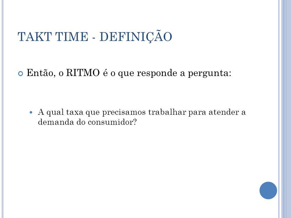 TAKT TIME - DEFINIÇÃO Então, o RITMO é o que responde a pergunta: A qual taxa que precisamos trabalhar para atender a demanda do consumidor?
