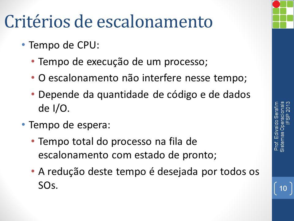 Critérios de escalonamento Tempo de CPU: Tempo de execução de um processo; O escalonamento não interfere nesse tempo; Depende da quantidade de código
