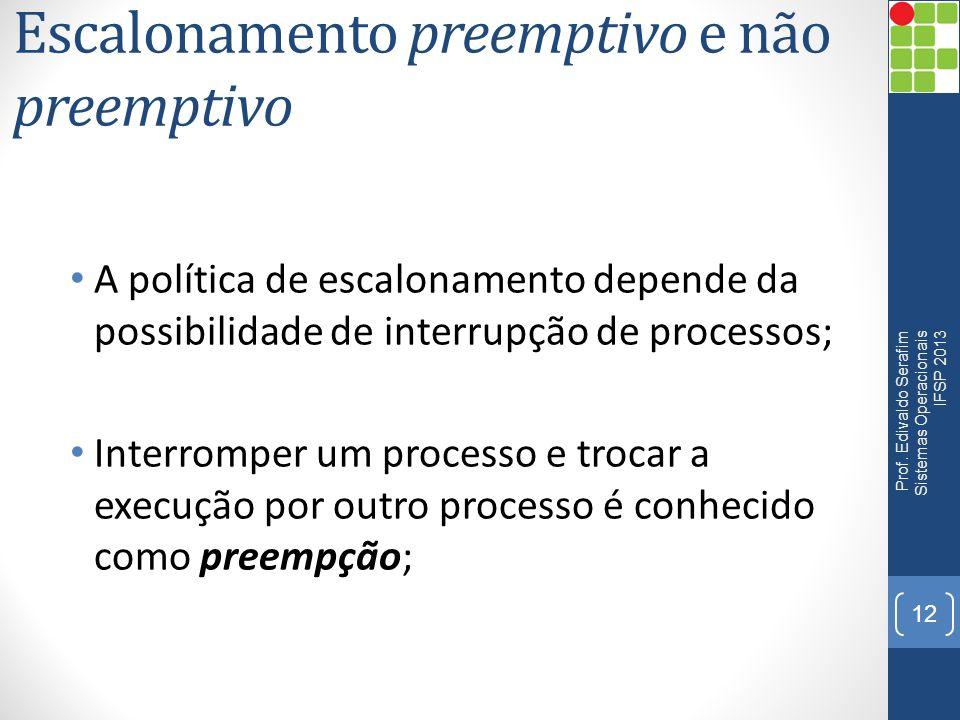 Escalonamento preemptivo e não preemptivo A política de escalonamento depende da possibilidade de interrupção de processos; Interromper um processo e