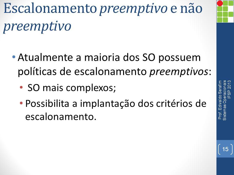 Escalonamento preemptivo e não preemptivo Atualmente a maioria dos SO possuem políticas de escalonamento preemptivos: SO mais complexos; Possibilita a