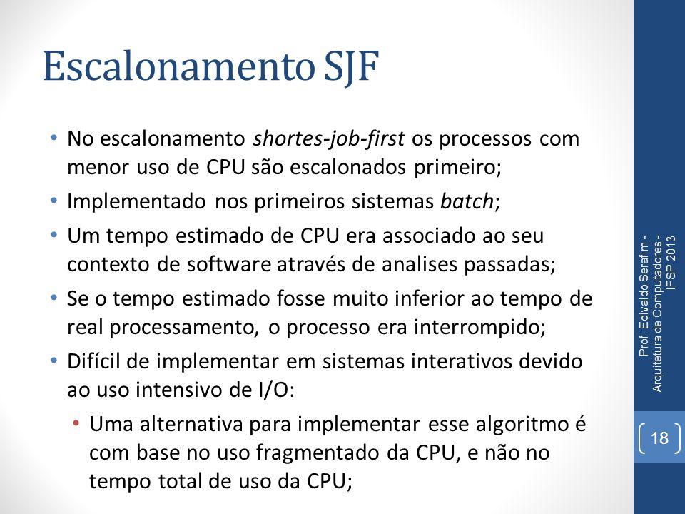 Escalonamento SJF No escalonamento shortes-job-first os processos com menor uso de CPU são escalonados primeiro; Implementado nos primeiros sistemas b