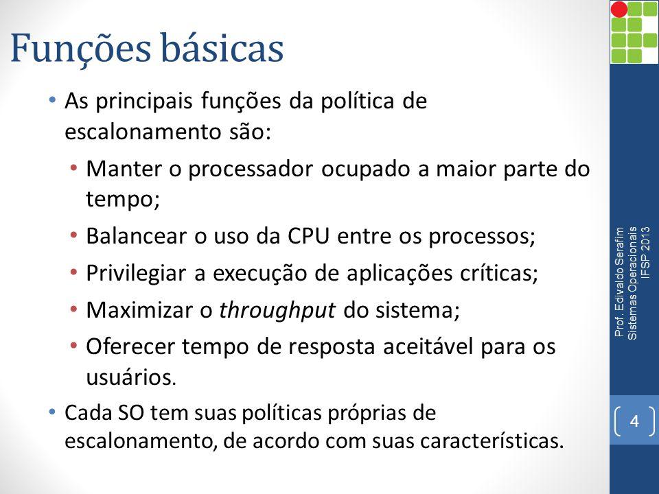 Funções básicas As principais funções da política de escalonamento são: Manter o processador ocupado a maior parte do tempo; Balancear o uso da CPU en