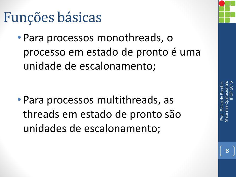 Funções básicas Para processos monothreads, o processo em estado de pronto é uma unidade de escalonamento; Para processos multithreads, as threads em