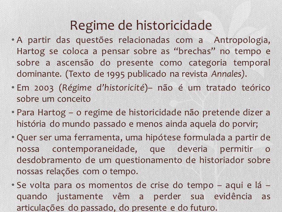 Regime de historicidade A partir das questões relacionadas com a Antropologia, Hartog se coloca a pensar sobre as brechas no tempo e sobre a ascensão