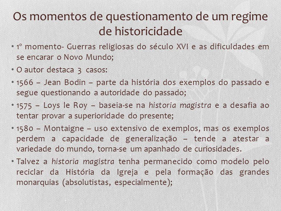 Os momentos de questionamento de um regime de historicidade 1º momento- Guerras religiosas do século XVI e as dificuldades em se encarar o Novo Mundo;