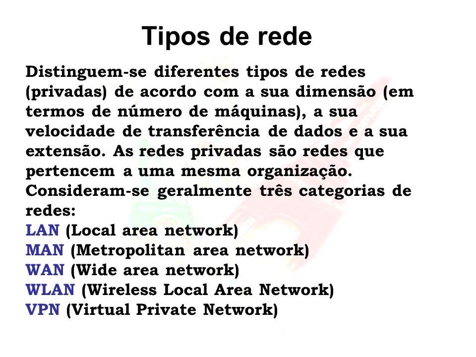 Tipos de rede Distinguem-se diferentes tipos de redes (privadas) de acordo com a sua dimensão (em termos de número de máquinas), a sua velocidade de t