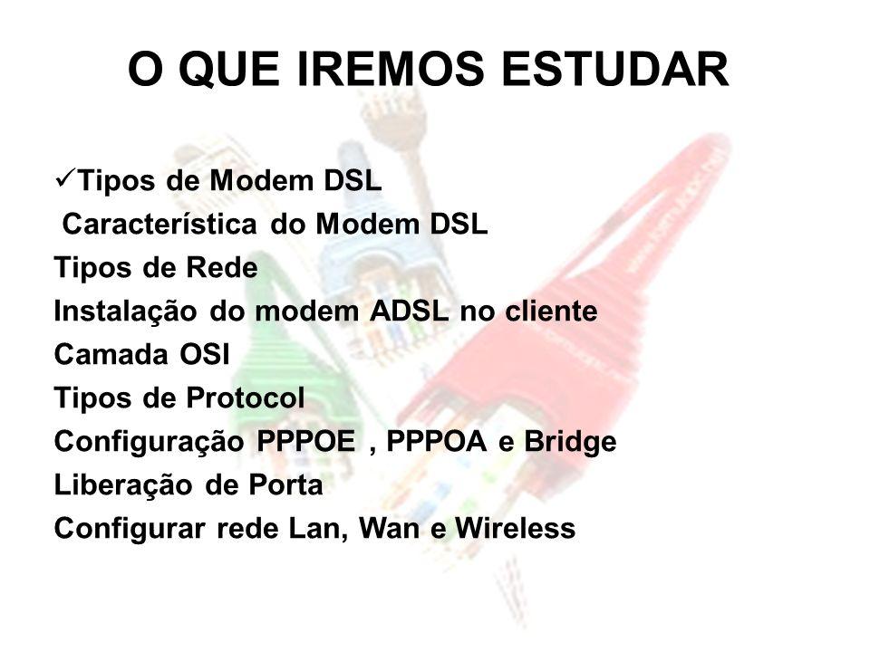 O QUE IREMOS ESTUDAR Tipos de Modem DSL Característica do Modem DSL Tipos de Rede Instalação do modem ADSL no cliente Camada OSI Tipos de Protocol Con