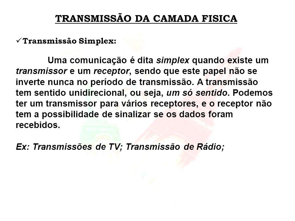 TRANSMISSÃO DA CAMADA FISICA Transmissão Simplex: Uma comunicação é dita simplex quando existe um transmissor e um receptor, sendo que este papel não