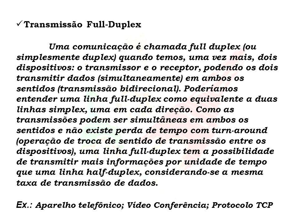 Transmissão Full-Duplex Uma comunicação é chamada full duplex (ou simplesmente duplex) quando temos, uma vez mais, dois dispositivos: o transmissor e