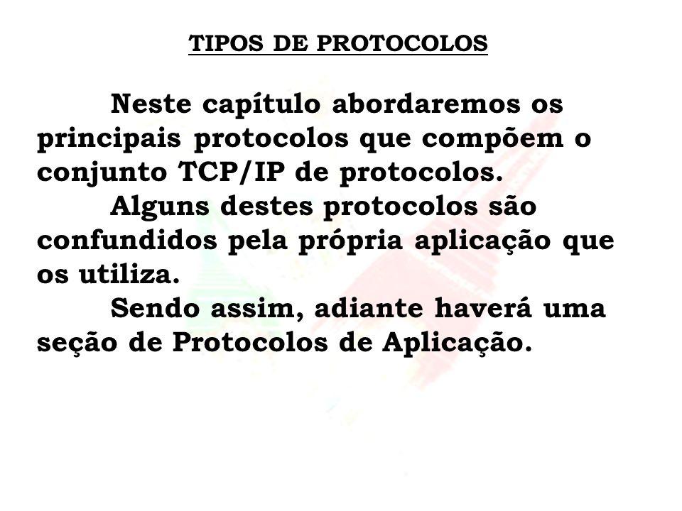 TIPOS DE PROTOCOLOS Neste capítulo abordaremos os principais protocolos que compõem o conjunto TCP/IP de protocolos. Alguns destes protocolos são conf