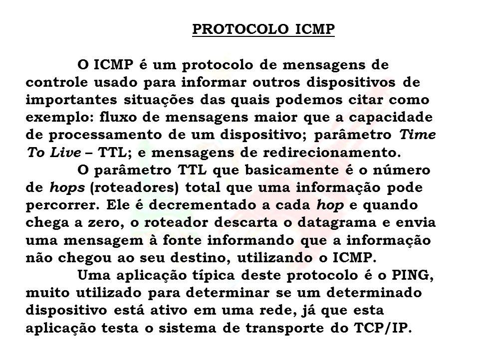 PROTOCOLO ICMP O ICMP é um protocolo de mensagens de controle usado para informar outros dispositivos de importantes situações das quais podemos citar