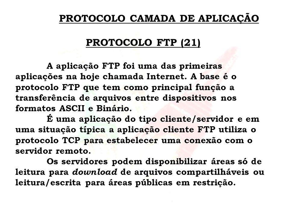 PROTOCOLO CAMADA DE APLICAÇÃO PROTOCOLO FTP (21) A aplicação FTP foi uma das primeiras aplicações na hoje chamada Internet. A base é o protocolo FTP q