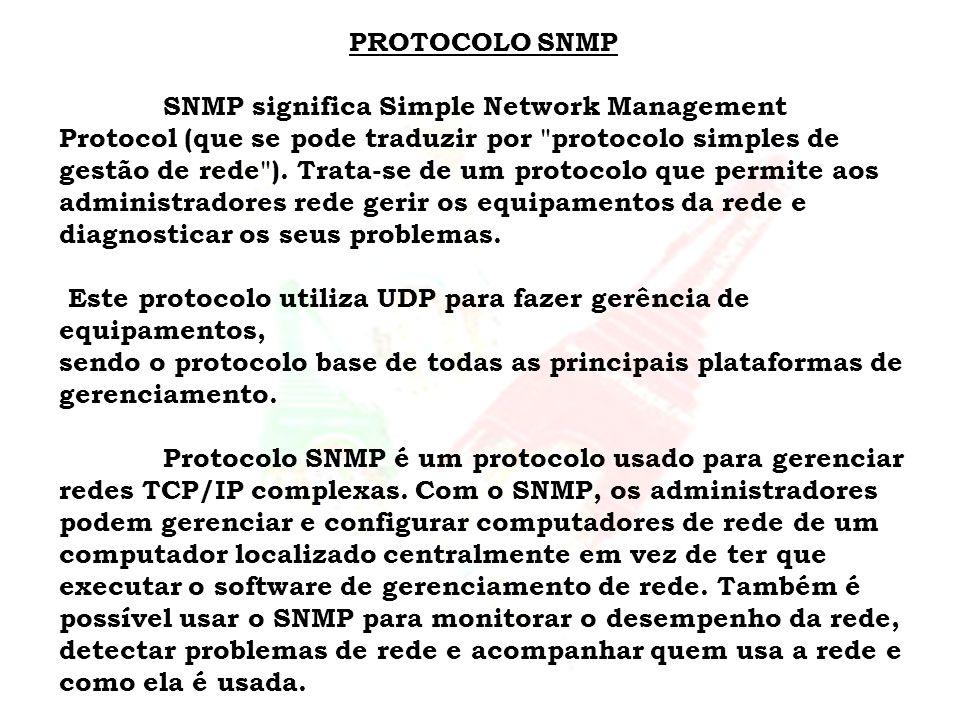 PROTOCOLO SNMP SNMP significa Simple Network Management Protocol (que se pode traduzir por
