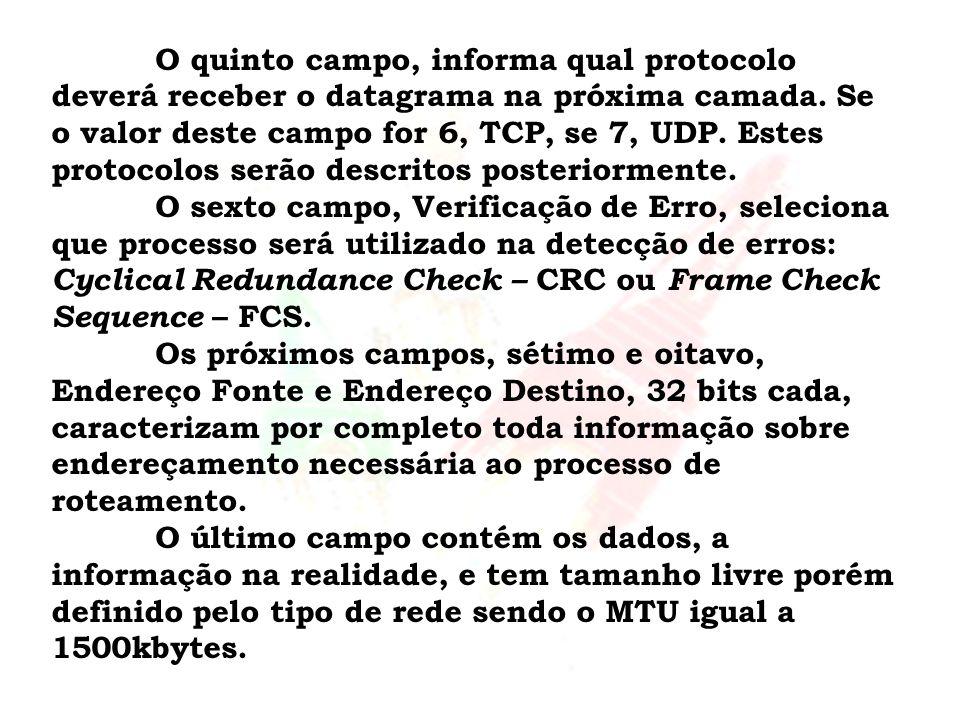 O quinto campo, informa qual protocolo deverá receber o datagrama na próxima camada. Se o valor deste campo for 6, TCP, se 7, UDP. Estes protocolos se