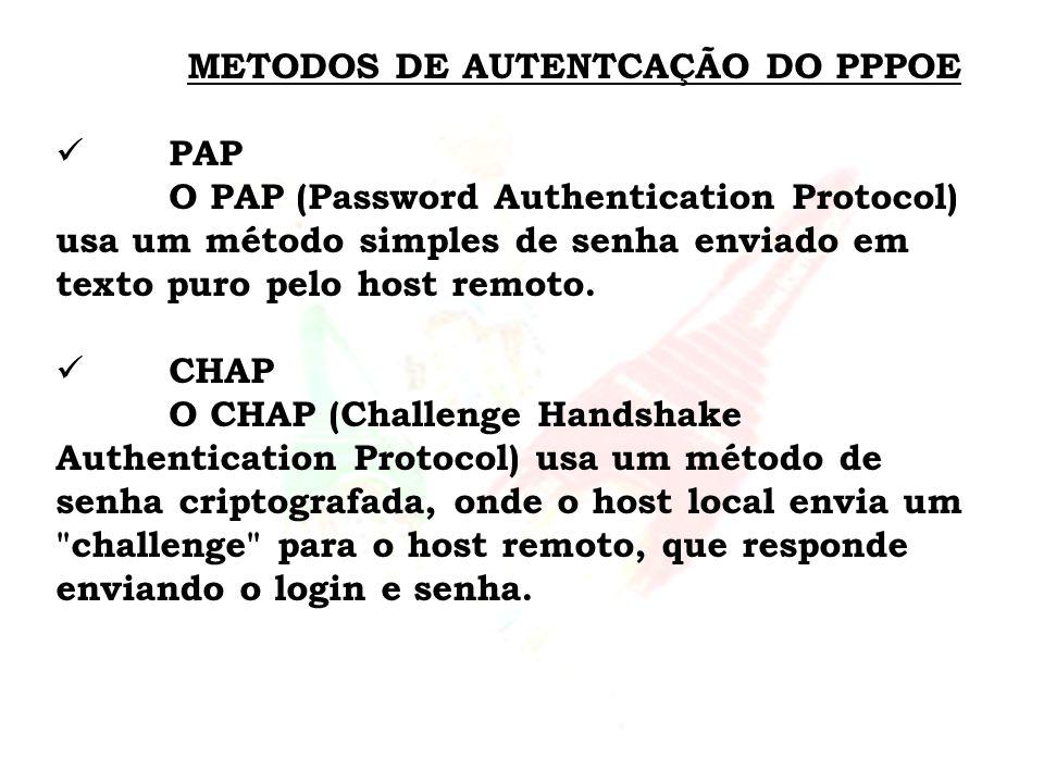 METODOS DE AUTENTCAÇÃO DO PPPOE PAP O PAP (Password Authentication Protocol) usa um método simples de senha enviado em texto puro pelo host remoto. CH