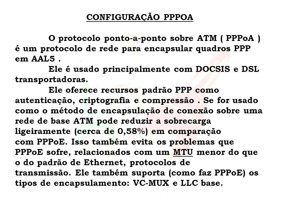 CONFIGURAÇÃO PPPOA O protocolo ponto-a-ponto sobre ATM ( PPPoA ) é um protocolo de rede para encapsular quadros PPP em AAL5. Ele é usado principalment