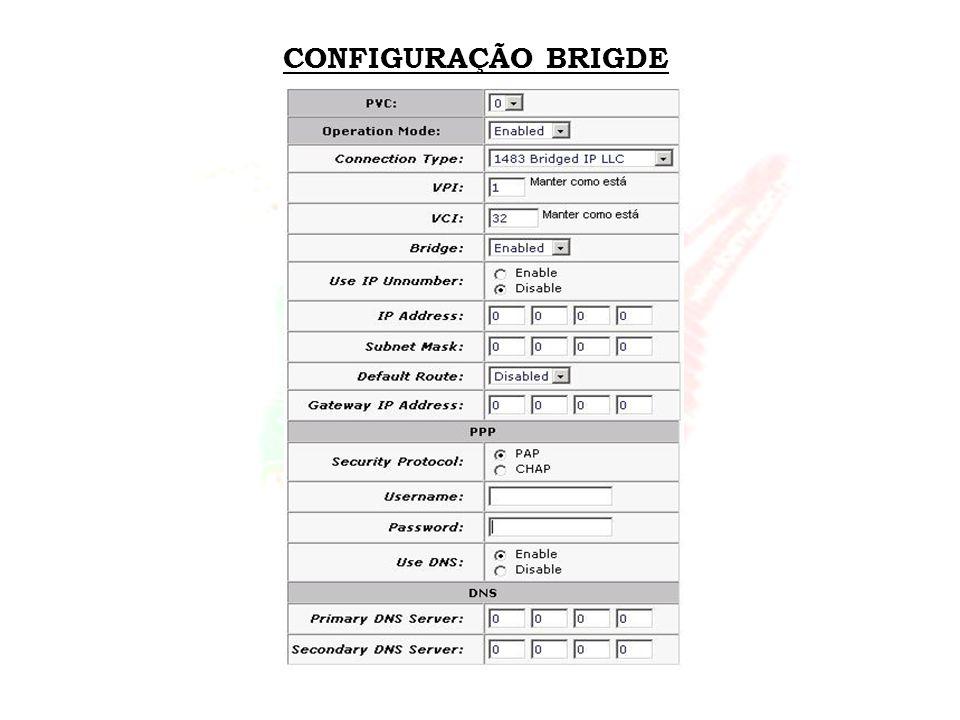 CONFIGURAÇÃO BRIGDE