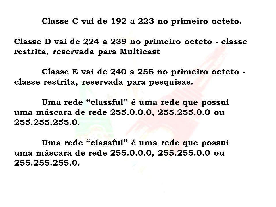 Classe C vai de 192 a 223 no primeiro octeto. Classe D vai de 224 a 239 no primeiro octeto - classe restrita, reservada para Multicast Classe E vai de