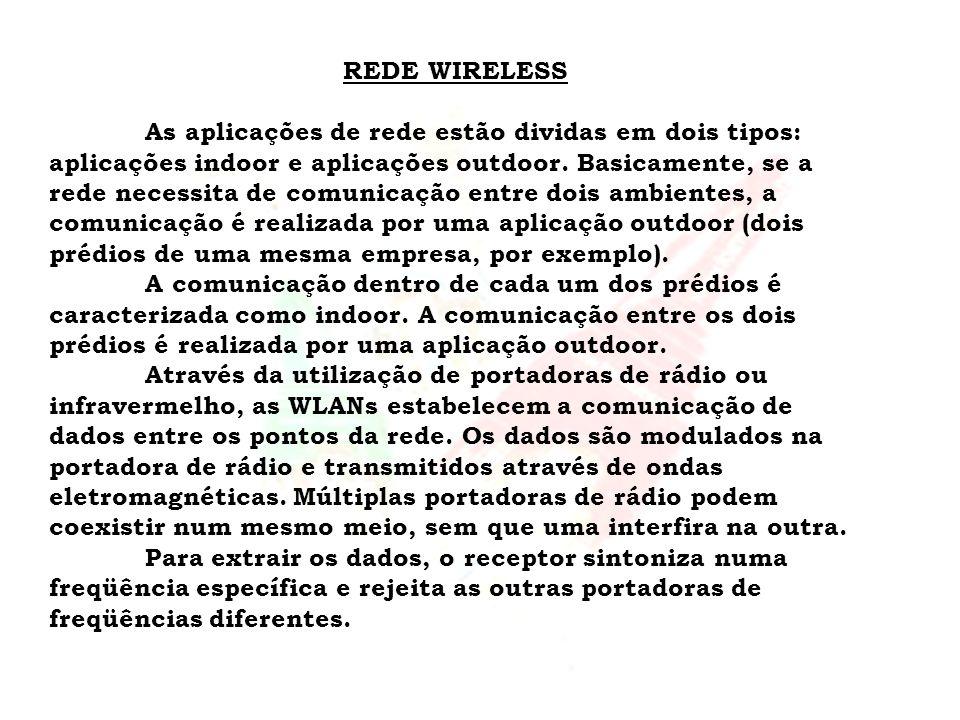 REDE WIRELESS As aplicações de rede estão dividas em dois tipos: aplicações indoor e aplicações outdoor. Basicamente, se a rede necessita de comunicaç