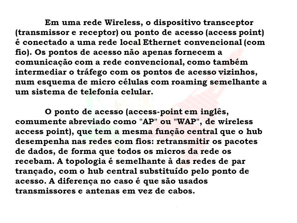 Em uma rede Wireless, o dispositivo transceptor (transmissor e receptor) ou ponto de acesso (access point) é conectado a uma rede local Ethernet conve